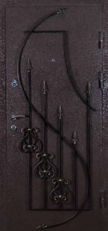 Дверь металлическая с кованными элементами Африка коричневая (внеш. вид)