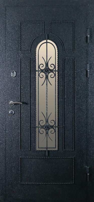 Дверь металлическая с кованными элементами Африка черная (внеш. вид)