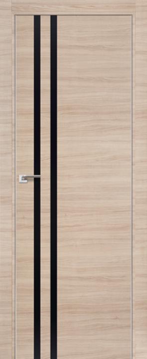 Дверь 19Z Капучино Кроскут, Черный глянец