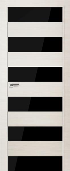 Дверь 8Z ЭшВайт Кроскут, стекло Черный лак