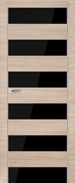 Дверь 8Z Капучино Кроскут, стекло Черный лак
