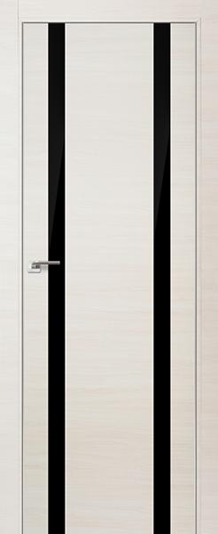 Дверь 9Z ЭшВайт Кроскут, стекло Черный лак