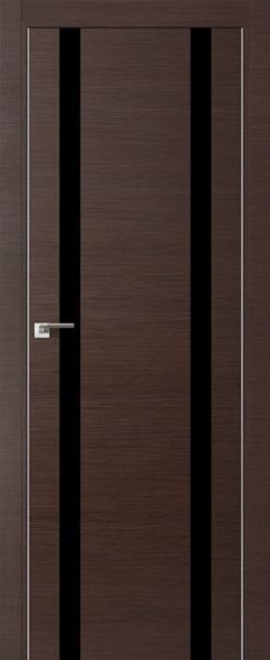 Дверь 9Z Венге Кроскут, стекло Черный лак
