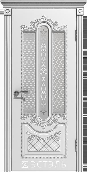 Александрия ДО, белая эмаль, патина серебро, стекло белое