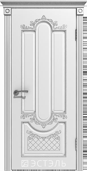 Александрия ДГ, белая эмаль, патина серебро