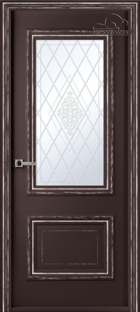 Франческа Винтаж, ДО, Шоколад, наличник Стандарт, Мателюкс белый кристалайз, рис. 34