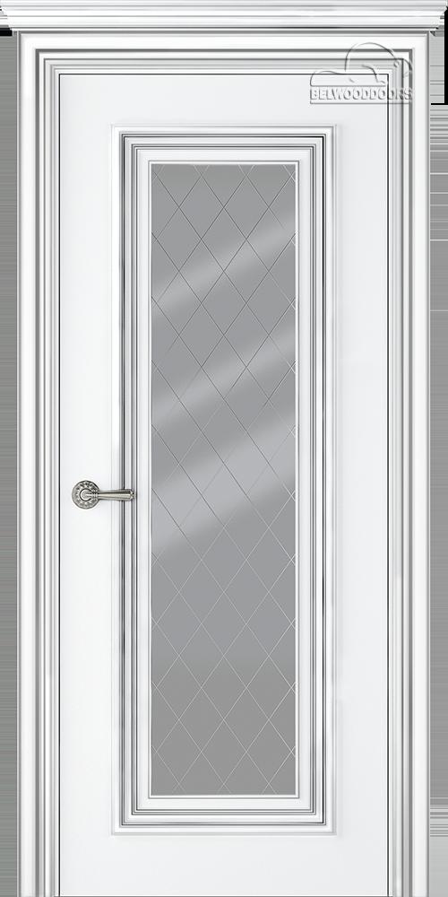 Палаццо 1, ДО, Белый-Патина серебро, наличник Карниз, Мателюкс белый витражный, рис. 39