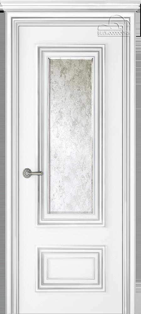 Палаццо 2, ДГ, белый-патина серебро с зеркалом  Mirold Morena