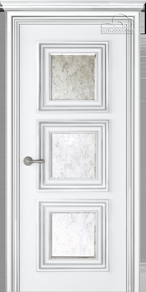Палаццо 3, ДГ, Белый-патина серебро с зеркалом Mirold Morena