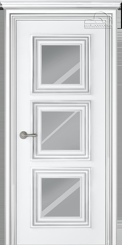 Палаццо 3, ДГ, Белый-патина серебро с зеркалом